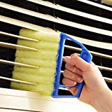 Blue Handheld Mini Blinds Cleaner Shutters, Curtain Brush Dust Remover Orange with 7 Removable Microfiber Sleeves, Air Conditioning Home Gadgets, Car Vents, Fan Shutters (Blue, with 7 Blades)