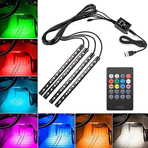 Haofy LED Interior Car Strip Lights, 4pcs 48 Lights, Multicolor Music Atmosphere Light Under Dash Car Lighting Kit with Sound Active Function Wireless Remote Control Battery USB Port 8 Colors, DC 5V