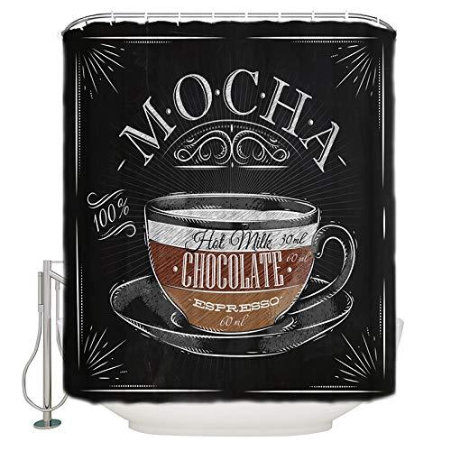Best Art Mokka-Schokolade Espresso-Elemente Duschvorhang, Duschvorhänge Schimmelfest, waschbar, wasserdicht, Gute Wahl für die Dekoration des Badezimmers (mit Haken, 183 x 183 cm)