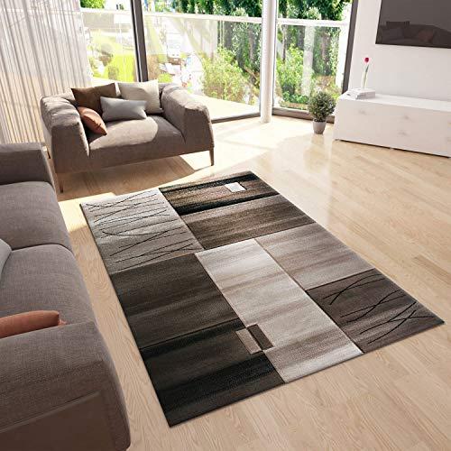 VIMODA Teppich Modern Kariert Gestreift in Braun Beige Dicht Gewebt, Maße:120 x 170 cm