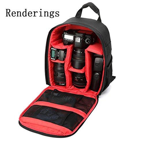 Appareil photo léger sac à dos en nylon waterproff grande capacité matériel photographique sac à dos SLR appareil photo numérique bandoulière H34 x L25 x T15 cm , Red
