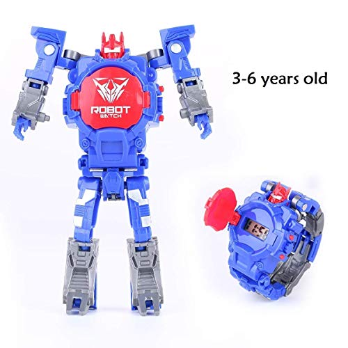 YuWei Smart Robot Toy Watch Transform Toys Kids 2 in 1 Electronic Transformers Toys Watch Deformed Robot Manual Transformation Robot Toys Children's Gift 3-6 Ages(Blue)