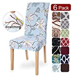 SearchI Dining Room Chair Covers Slipcovers Set of 6, Spandex Fabric Fit Stretch Removable Washable Short Parsons Kitchen Flower Chair Covers Protector for Dining Room, Hotel (Light Blue, 6 per Set)