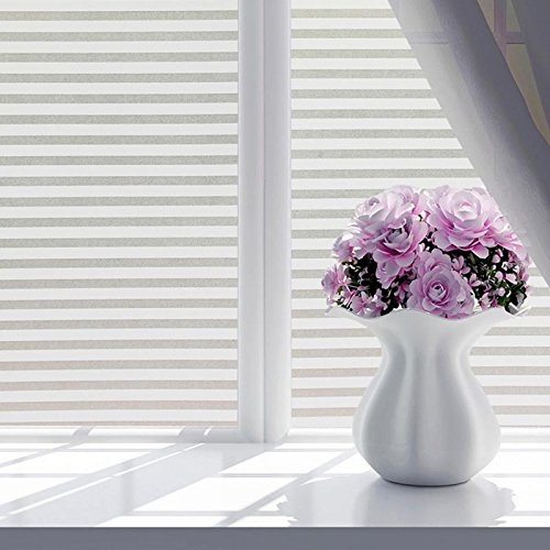 N / A Fashion self-adhesive window film frosted white striped glass sliding door bathroom office shutter window sticker A17 60x100cm