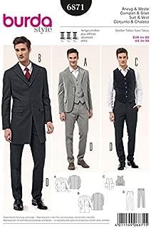 Burda Mens Sewing Pattern 6871 - Suit Jackets, Waistcoat & Trousers by Burda