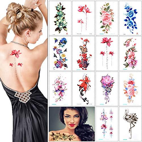 14 fogli tatuaggio grande fiore tatuaggio temporaneo stili misti adesivi tatuaggio corpo per donne ragazze braccia spalle spalle gambe