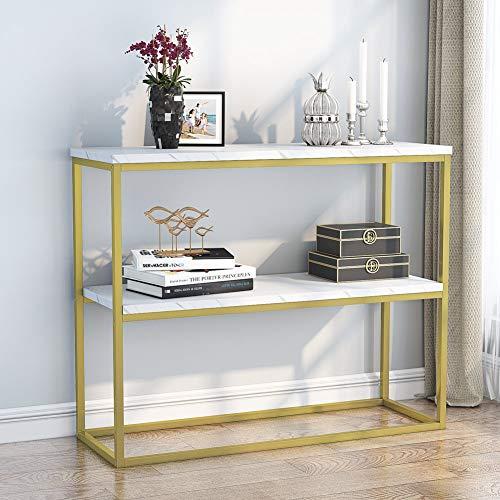 Konsolentisch, schmaler Sofatisch mit 2 Ablagen, Kunstmarmor, schmaler TV-Ständer für Flur, Eingang, weiß/goldfarben, 100 x 35 x 81cm