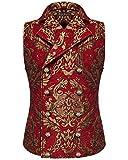 Devil Fashion Hombre Chaleco Oro Rojo Damasco Gótico Steampunk Aristocrat - Rojo, S
