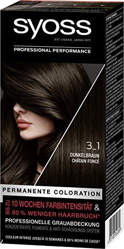 SYOSS Professional Performance, permanente Coloration, hochwertige Haarfarbe 3_1 Dunkelbraun, 3er Pack (3x 115ml)