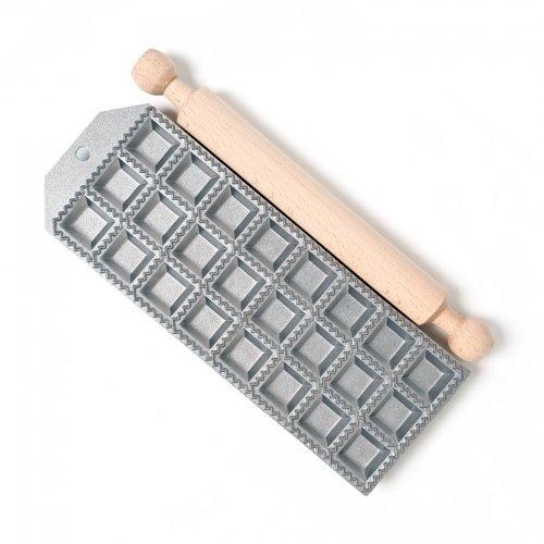 Formes d'aluminium moules pour ravioli 24 pcs + rouleau 28 cm