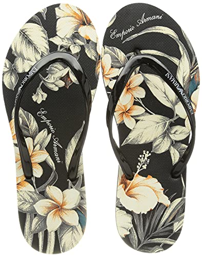 Emporio Armani Swimwear Flip Flop Tropical Garden, Donna, Black Floral Black, 40 EU