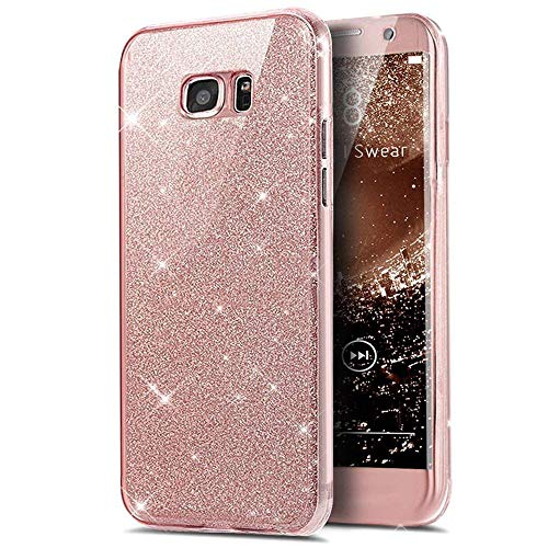 KunyFond TPU Silicone Paillette Strass Brillante Glitter 360 Degres Protection Integral Avant+Arriere Choc Gel Housse Étui Hybride Bumper Couverture Coque Compatible Samsung Galaxy A8 Plus 2018-Rose