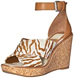 Dolce Vita Women's Urbane Wedge Sandal, Brown/Natural Zebra Print, 9.5 M US