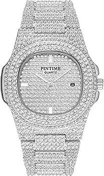 Unisex Luxury Full Diamond Watches Fashion Analog Stainless Steel Band Calendar Silver Quartz Wrist Watch  Silver