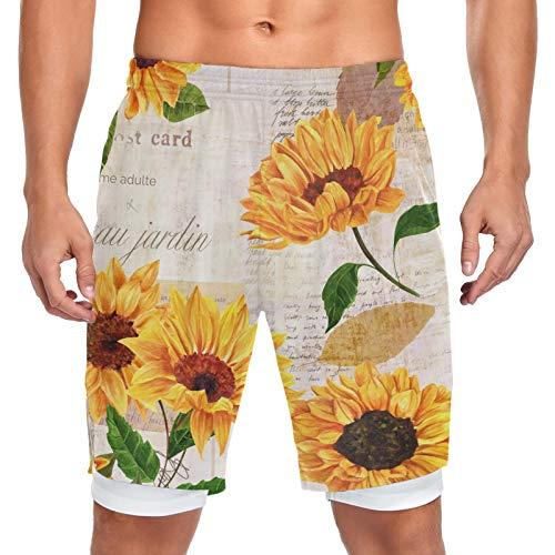 Mnsruu Acuarela amarillo girasol floral flor hombres pantalones cortos entrenamiento deporte bolsillo corto