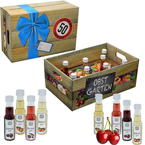 Obstgarten mit Geburtstagszahl 50. Geburtstag · Witzige Geschenkidee für Männer und Frauen mit Alkohol · 8 x Obst-Likör · Hochwertige Geschenkbox · Geburtstagsgeschenk für Männer