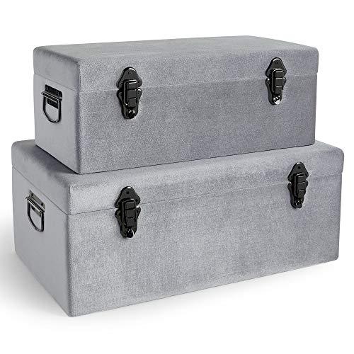 Beautify 2-er Set Silber-Aufbewahrungskoffer aus Samt - Luxe Kollektion - Metallisch - Schimmer - Zinn - Für Schlafzimmer, Wohnzimmer, Ankleidezimmer, Flur