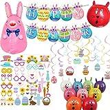 Happy Easter - Guirnalda para decoración de huevos de conejo, diseño de Pascua, 42 accesorios para...