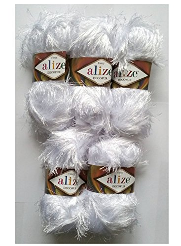 5 x 100 Gramm Alize Strickgarn mit Fransen, 500 Gramm Plüsch Fransengarn (weiß 55)