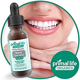 Primal Life Organics | Dirty Mouth Gum Serum | Fight Bad Breath, Clean Gum Tissue, and Ensure Good Oral Hygiene | Made with Natural Essential Oils | 0.5 Fluid Ounces