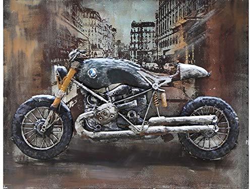 IDYL Metall-Bild mit 3D-Effekt | Moderne Kunst | Motiv Motorrad | 60 x 80 x 6 cm | Nr. 0662
