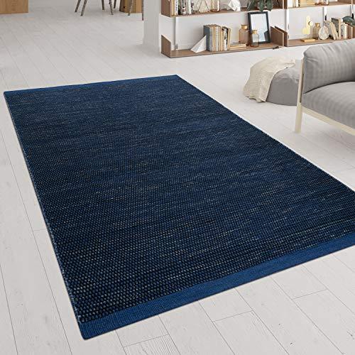 Paco Home Tapis Tissé Main Tissage À Plat Style Scandinave Chiné Motif Tissé Bleu, Dimension:140x200 cm