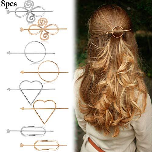 Kapmore - Pinzas para el pelo para mujer, 8 unidades, minimalistas, delicadas y geométricas, accesorios de peinado para niñas y mujeres