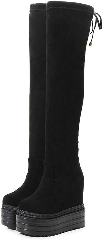 Womens Boots Over The Knee Boots with Wedge Heel Non-Slip Boots Winter Warm Outdoor Hidden Heels Boots