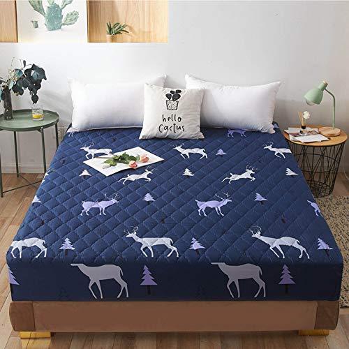 Protector de colchón impermeable para cama doble, ropa de cama familiar de algodón con sábana de banda elástica, funda de colchón de cuatro esquinas, antialérgico y transpirable (30 cm de profundidad)