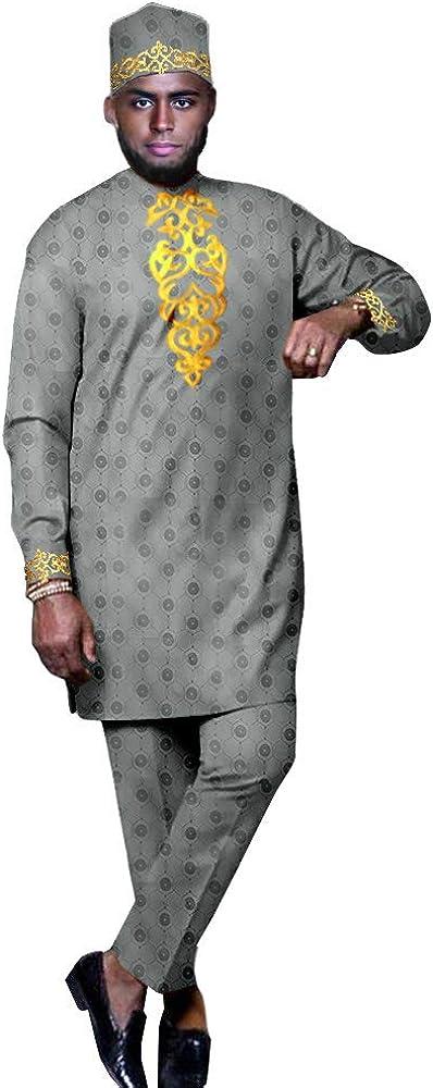 African Clothing Set for Men Print Coats Ankara Pants Tribal Hat 3 Piece Suit Dashiki Long Coats