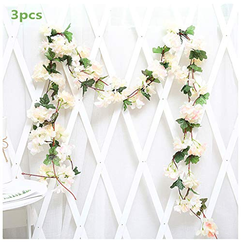 3Pcs Artificial Cherry Blossoms Hanging Rattan Garland Wreath Fresh Lovely of Fake Flower Plant Flower Vine Leaf for Home Party Garden Fence Christmas Wedding Decoration 220cm,E