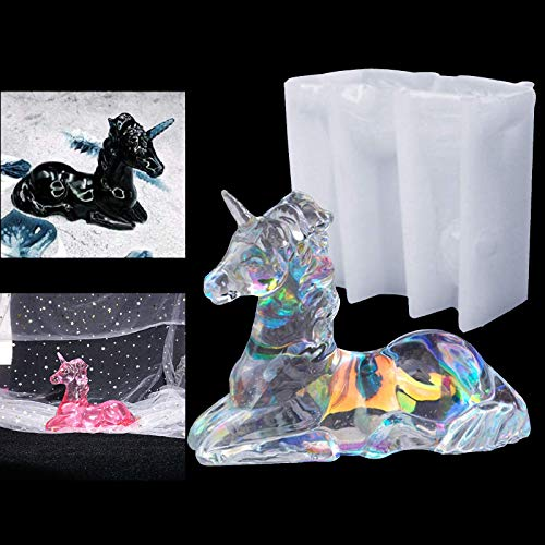 3D Unicorn Resin Mould Silicone Crystal Epoxy Casting Mold Jewelry Making Agate Resin Molds Craft DIY Gift Tool Handmade Candle Soap Mould for Home Office Desk Car Decorations Interior Dashboard