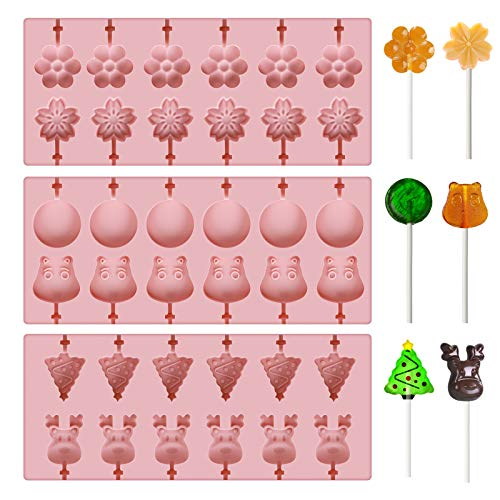 E-More 3 Moulle Pop Cake con 100 bastoncini, Stampi per cake pop torte pasticceria cioccolato Jelly Candy per Candy, Lollipop e Fondant, 6 modelli