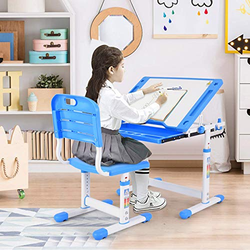 Kids Study Desk and Chair Set - Tilted Desktop Pull Out Drawer - Height Adjustable Children Table & Chair Set | Kids Study Writing Drafting Table - Students Desk for Boy & Girls Age 4-8 (Blue)