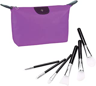 Avilana 6pcs Black Silicone Makeup Brush Set For Facial Mask, Foundation Brushes, Eyeshadow Eyebrow Brush Kit With Bonus Travel Makeup Bag