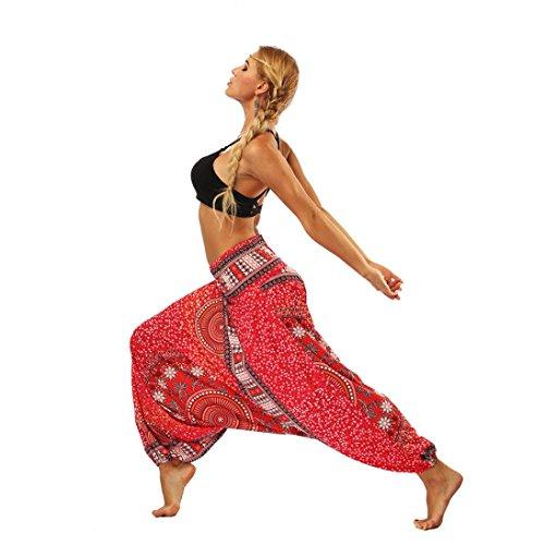 Frauen-beiläufige Sommer-lose Yoga-Hose VENMO Baggy Aladin Overall Pluderhosen Damen Haremshose Ballonhose Pluderhose Yogahose Aladinhose Harem Sommerhose mit Stoffgürtel (Red, ONE Size)