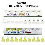 Nongi Combo Pack of 20 Shuttlecocks 500XL(10 White Feather), 200 Plus(10 Yellow Plastic)