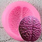 UNIYA Molde decorativo de silicona con forma de cerebro, para fondant, galletas, chocolate, dulces, pasteles, pudding y magdalenas, herramientas de horneado DIY