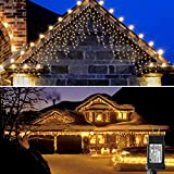 LED Icicle Lights Decorations Outdoor,300 LED 32ft 8 Modes Curtain Light with 60 Drops, Waterproof Christmas Lights End to End Expandable String Lights for Halloween Holiday,Party,Patio (Warm White)