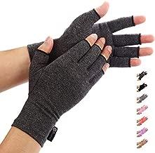 Duerer Arthritis Compression Gloves Women Men for RSI, Carpal Tunnel, Rheumatiod, Tendonitis, Fingerless Gloves for Computer Typing and Dailywork (Black, M)