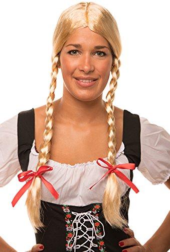 Balinco Heidi / Gretel Perücke blond mit Zöpfen und roten Schleifen für Damen und Herren Fasching Karneval
