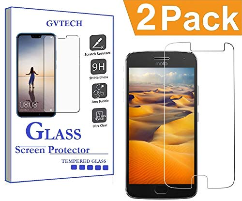 GVTECH for Motorola Moto G5 Plus Screen Protector, Tempered Glass Screen Protector[0.3mm, 2.5D][Bubble-Free][9H Hardness][Easy Installation][HD Clear] for Motorola Moto G5 Plus(2 Pack)