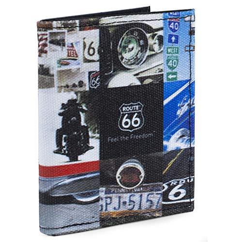 ROUTE 66 Jugendliche Geldbörse aus Leinen, viele Fächer, bedrucktes Logo, R11911, Schwarz, Einheitsgröße