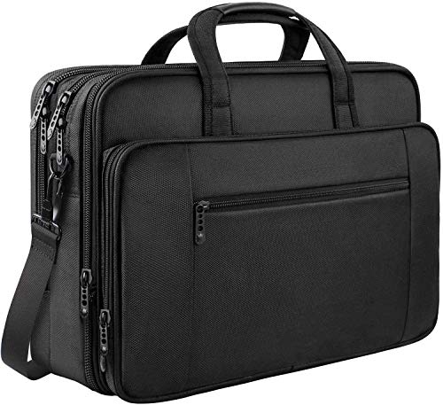 Laptop Bag, 17 inch Business Briefcase for Men Women Large Waterproof Laptop Case Shoulder Messenger Bag Fits 17 inch Laptop, Expandable Multifuntional Computer Bag For Tablet/Notebook-Black