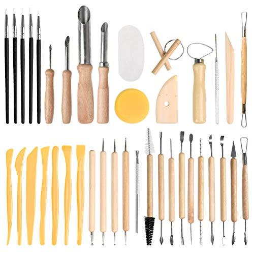 FOCCTS 40 Stück Bildhauerwerkzeuge aus Ton Keramik-Schnitzwerkzeug Satz - beinhaltet Ton Farbformer,Modellierwerkzeuge & Holzskulptur Messer für Profis oder Anfänger