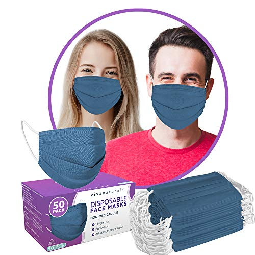 Gray Face Mask (50 Pack) - Premium 4-Ply Gray Disposable Face Mask Designed with Comfortable Earloops & Adjustable Metal Nose Strip, Non-Medical Grey Face Mask for Indoor & Outdoor Use