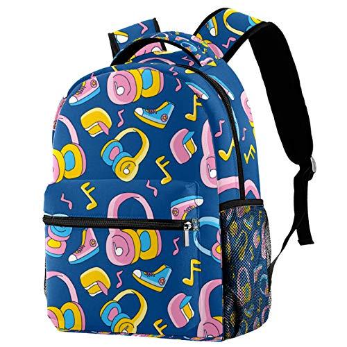 Mochila de dibujos animados linda cabeza funky teléfono música zapatos escuela mochila viaje casual mochila para mujeres adolescentes niñas niños