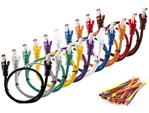 """MutecPower 0.5m CAT5E Netzwerk Ethernet -Patch-Kabel UTP - mit 2X RJ45 Stecker Set """"10 Stück, 10 Farben"""" (100 Kabelbinder in der Packung enthalten) 0.5 Meter 10-Pack"""