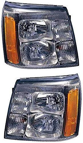 Headlight Set Compatible with 2002 Cadillac Escalade EXT Left Driver and Right Passenger Side Halogen With bulb(s)