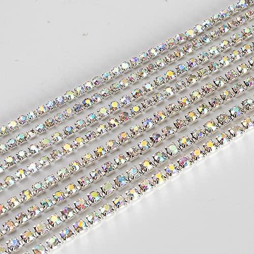 Paquete de 1 yarda/diamantes de imitación de cristal con purpurina para ropa sueltos coser en cadena de diamantes de imitación AB con garra Z200-blanco AB, 2,0 mm